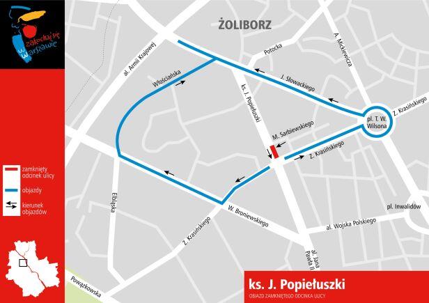 Objazd zamkniętego odcinka ulicy UM