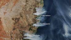 Zasięg pożarów na wybrzeżu Nowej Południowej Walii