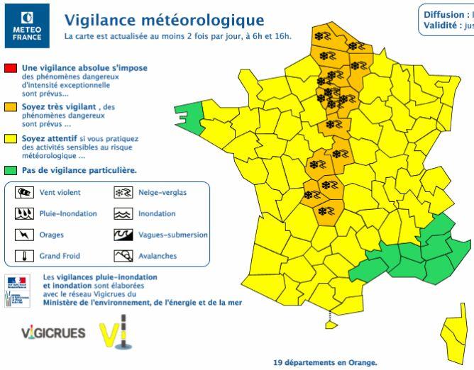 Ostrzeżenia meteorologiczne we Francji (źródło: Meteo France)
