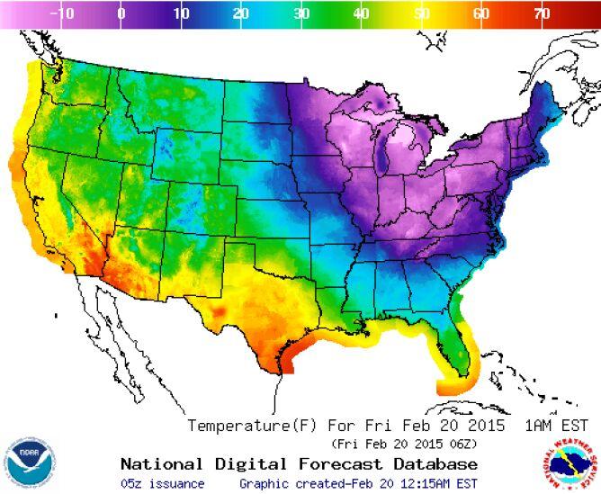 Mapa pokazuje, jak fala mrozu przechodzi przez stany USA (NWS/NOAA)
