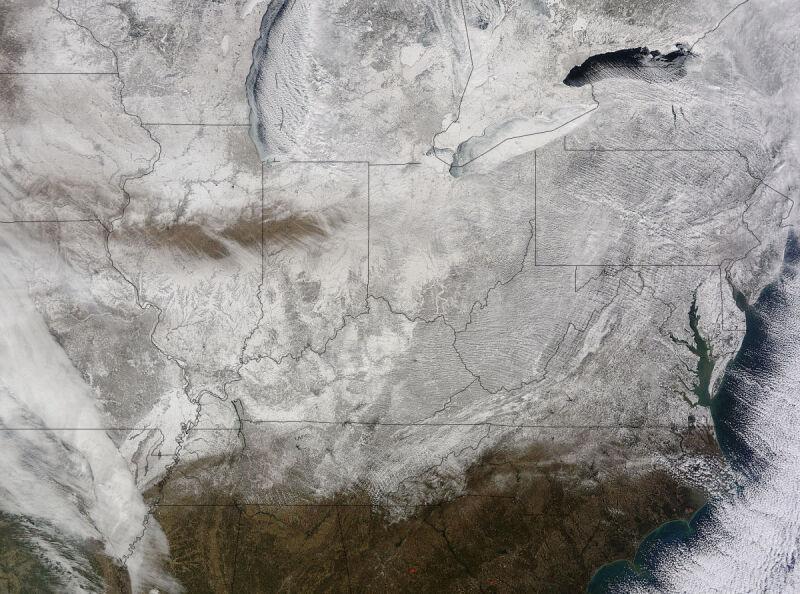 Wschodnie Stany Zjednoczone w oku satelity Terra należącej do NASA