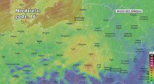 Prognozowane porywy wiatru w najbliższych dniach
